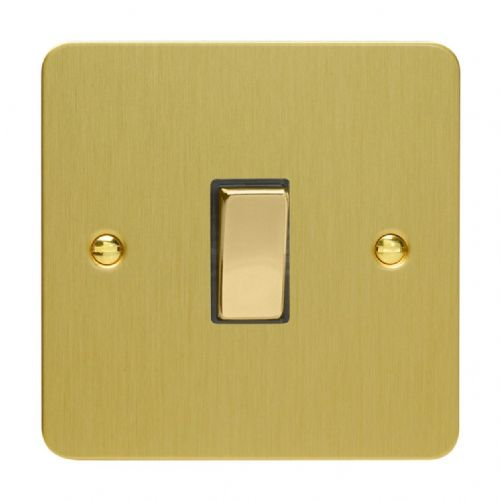 Varilight XFB20D Ultraflat Brushed Brass 1 Gang 20A Double Pole Switch